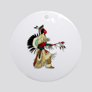 Native American Warrior #5 Ornament (Round)